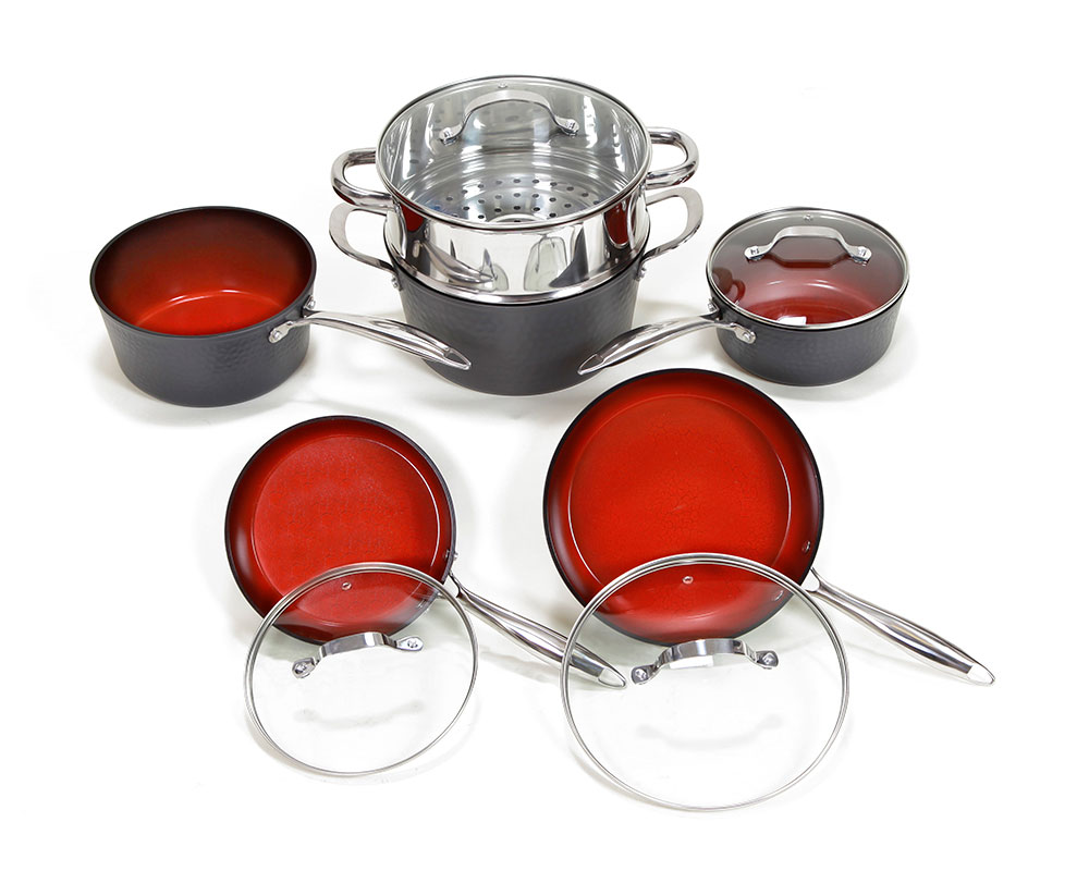 Fire And Earth 10 Pc Hammered Look Induction Set 8580